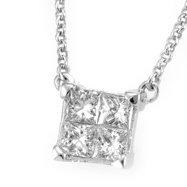 Custom Made Princess Diamond Box Necklace In 14k White Gold, Diamond Necklace, Ladies Necklace