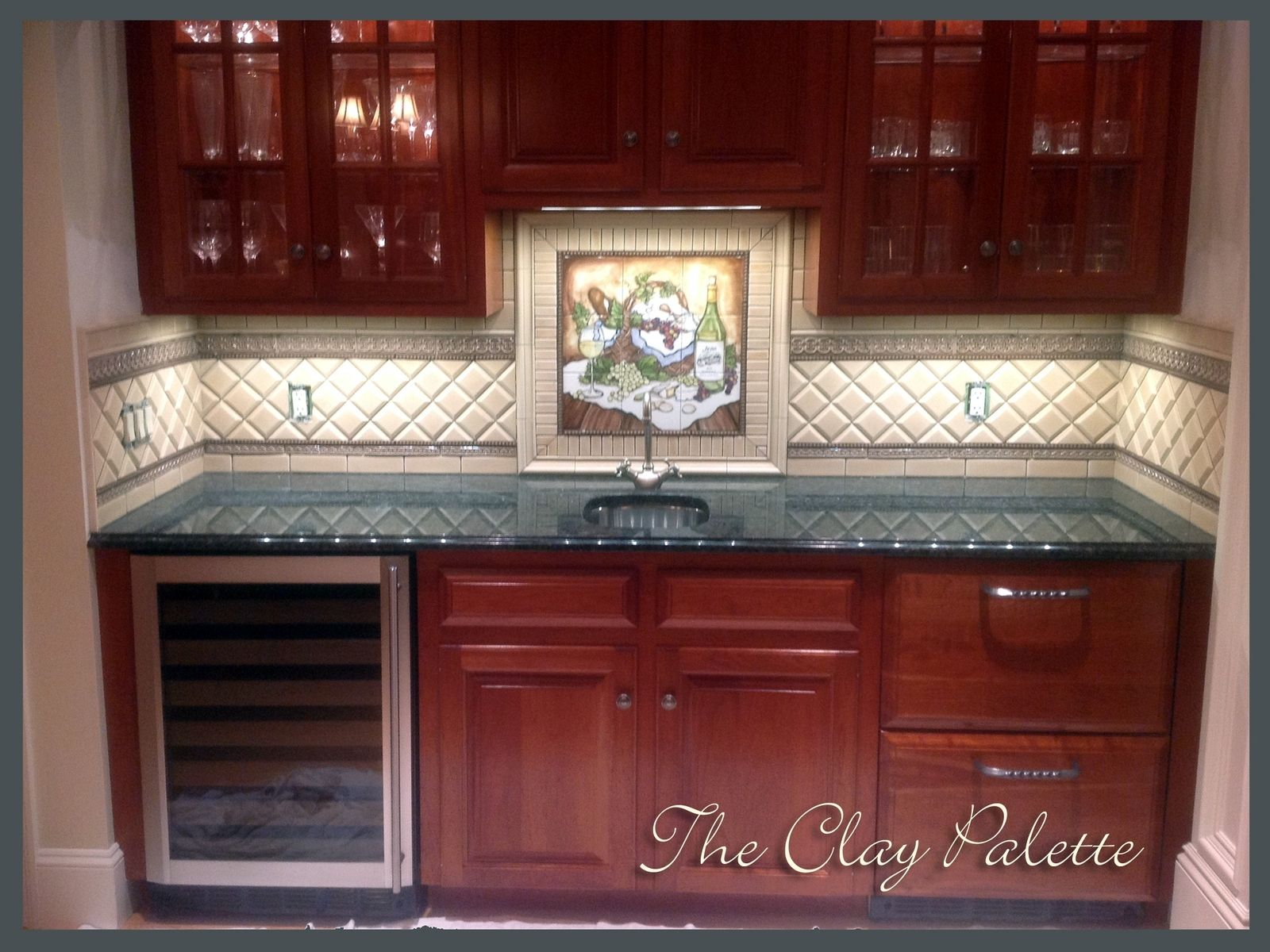 Hand crafted hand painted chardonnay tile backsplash by the clay palette - Custom kitchen backsplash tiles ...