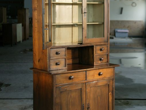 Custom Made European Open Top Hutch With Glass Doors And Shelf. Brown Cherry With Snow White Interior