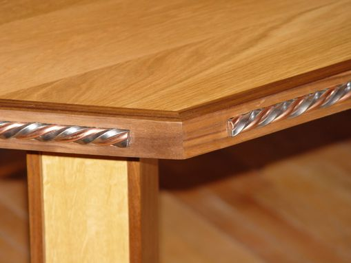 Custom Made For Sale..Oak And Walnut Desk With Twisted Steel And Copper Accents