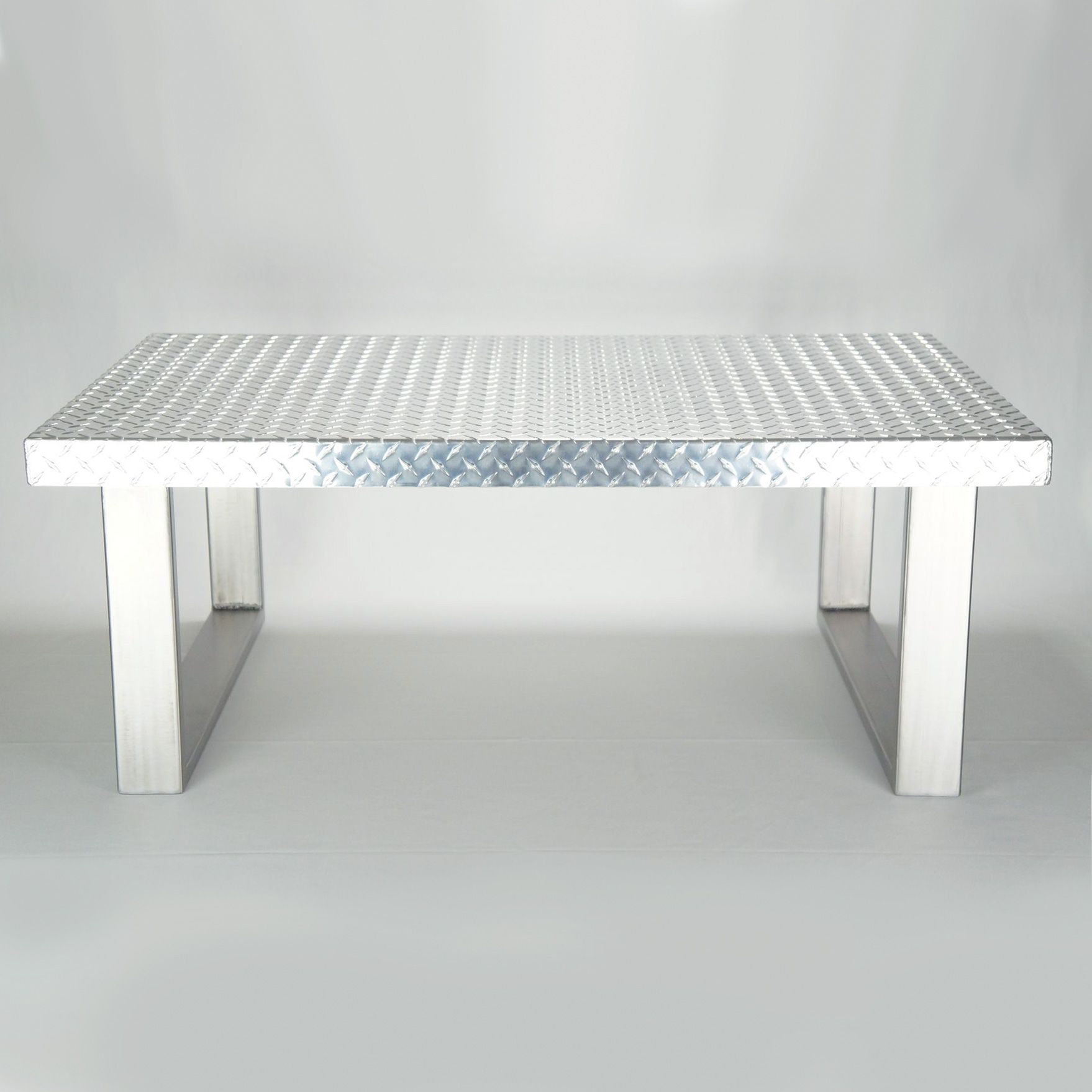 Hand made industrial diamond plate metal coffee table by for Wire coffee table