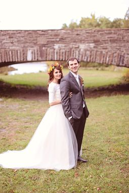 Custom Made Long Sleeve Lace Wedding Dress Modest Tulle Ball Gown, Michelle Style, Custom Made In Your Size