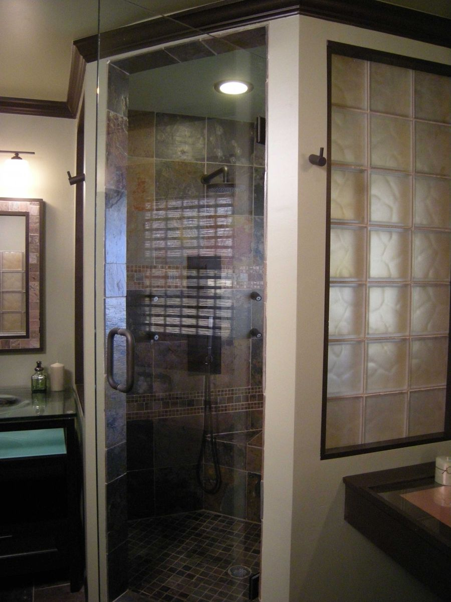 Custom Cinnamon Colored Frosted Glass Block Shower Wall