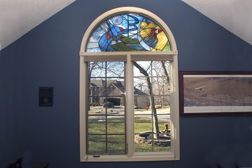 Custom Made Stained Glass Fighter Jet And Cardinal Window