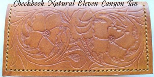 Custom Made Custom Leather Checkbook Cover With Natural 11 Design And In Canyon Tan