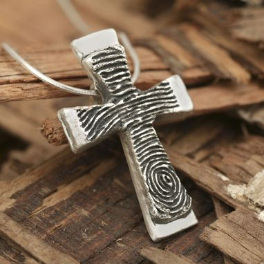 Custom Made Custom Sterling Silver Fingerprint Cross