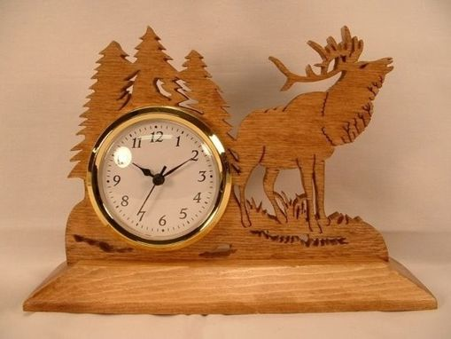 Custom Made Elk In The Woods Desk Clock