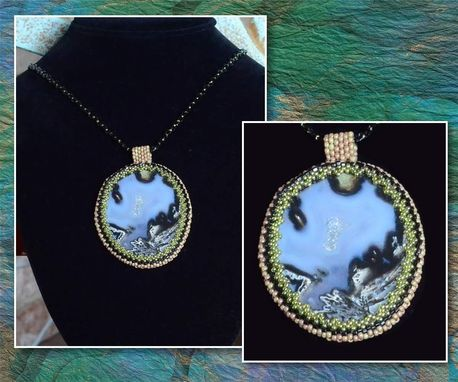 Custom Made Beaded Sliced Agate Pendant And Necklace