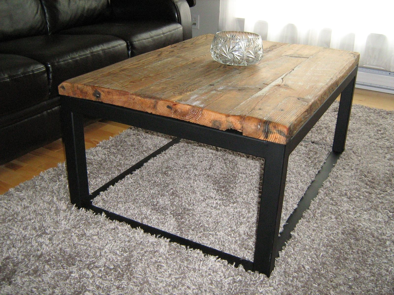 Custom wood and iron coffee table by baywood