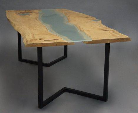 Custom Made Natural Edge / Glass Slab Dining Table