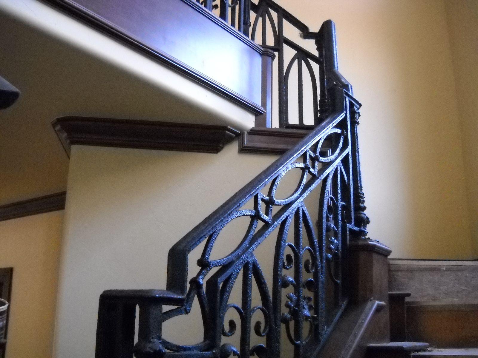 Lighting Basement Washroom Stairs: Custom Ornamental Stair Railing In Texture Bronze Finish