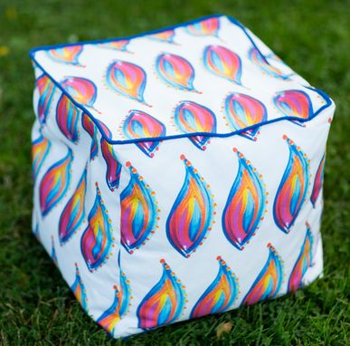 "Custom Made Pouf Cube In Paisley Flame Textile Design - 16"" Sq."