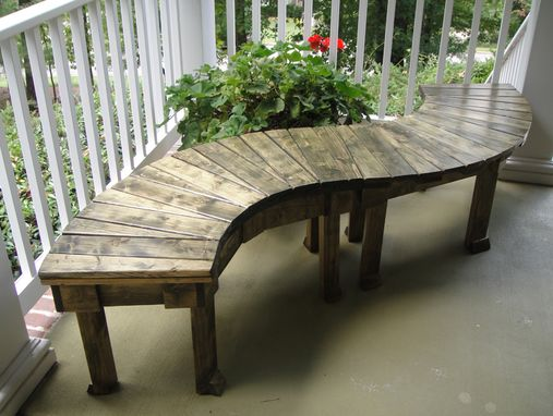 Custom Made 46 Inch Wide Pine And Spruce Hand Crafted Fan Bench Or Table For Inside Or Porch Use