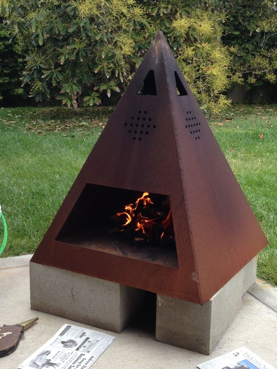 Buy a Custom Outdoor Steel Chiminea Fireplace made to order from