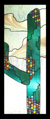 Custom Made Deco-Style Saguaro Cactus In Stained Glass
