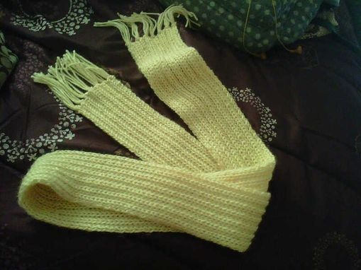 Custom Made Yellow Knitted Rib Scarf With Tassels