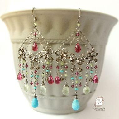 Custom Made Large Chandelier Earrings, Sterling Silver And Gemstones