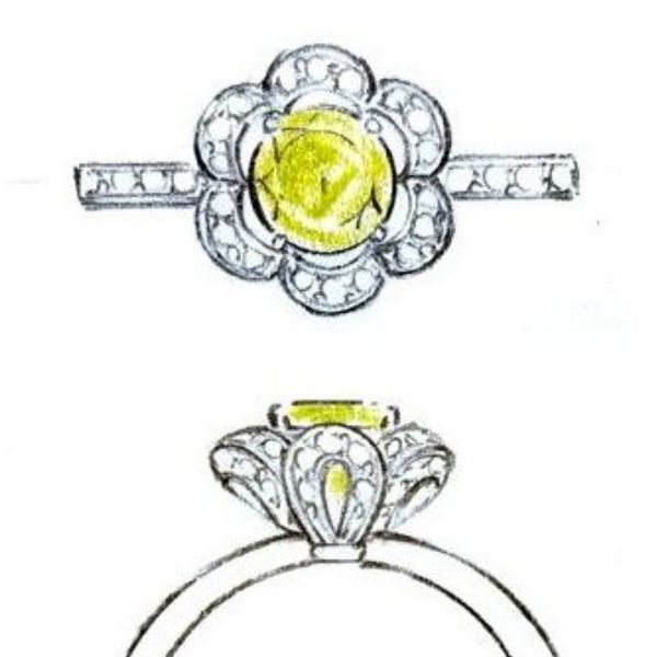 Concept sketch for a beautiful peridot flower ring with diamond-accented petal loops.
