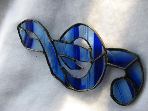 Custom Made Stained Glass G Clef In Blue