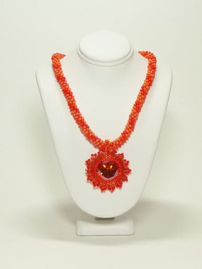 Custom Made Pacific Sunset Kumihimo Necklace With Chili Pepper 27mm Rivoli