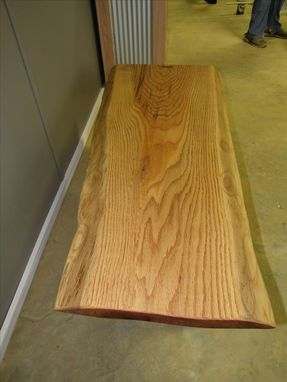 Custom Made Live Edge Red Oak Slab Coffee Table With Walnut Butterfly Inlay