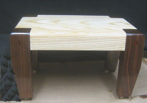 Custom Made Custom Ash With Walnut Legs Foot Stool