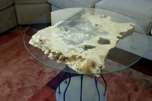 Custom Made Rustic Side Table, Spalted Maple With Glass Top