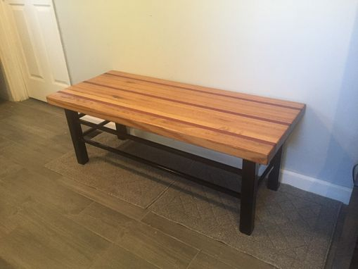 Custom Made Modern Coffee End Table - Metal Frame With Butcher Block Wood Top