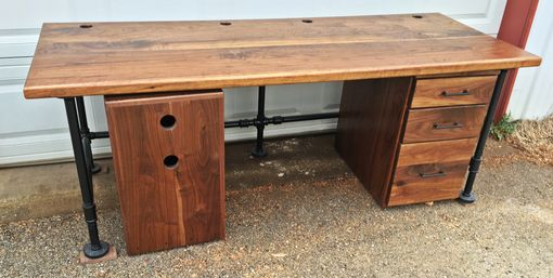 Custom Made Industrial Black Walnut Office Desk