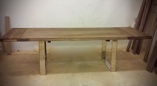 Custom Made Custom Dining Table - Pecan Hardwood With Custom Chrome Base