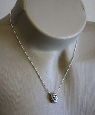 Custom Made Fine Silver - Day Of The Dead Skull Necklace - $130