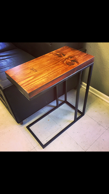 Custom Made The Dandy Industrial Rustic Iron And Pine End Table Steel Patina Modern