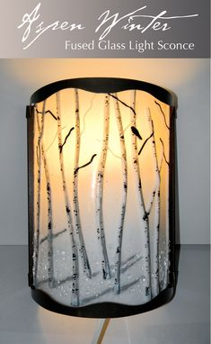 Custom Made Aspen Winter Fused Glass Light Sconce