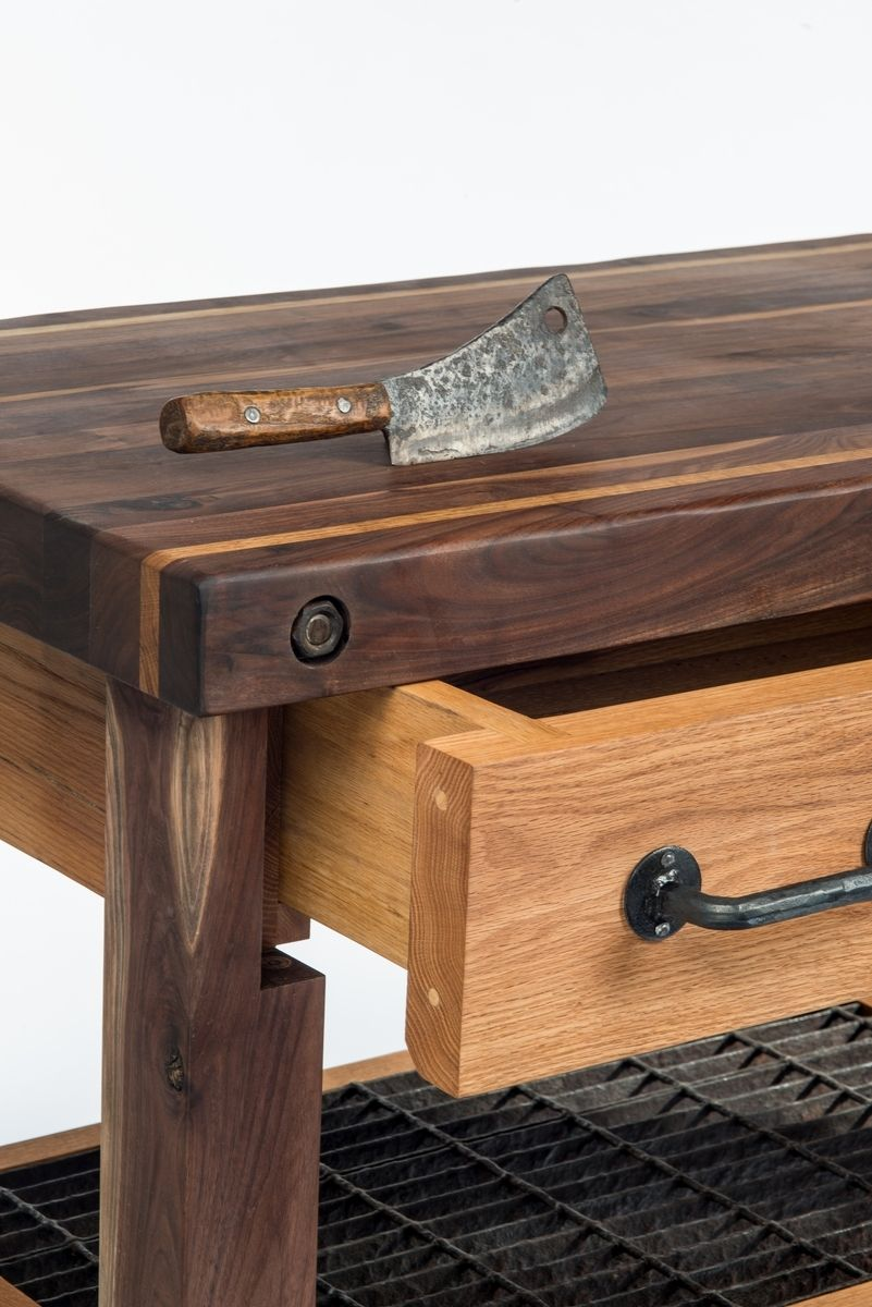 hand crafted walnut and oak lineberry factory cart butcher s block
