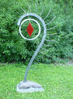Custom Made Outdoor Abstract Rock And Metal Scultpure, Yard Art Or Interior Art