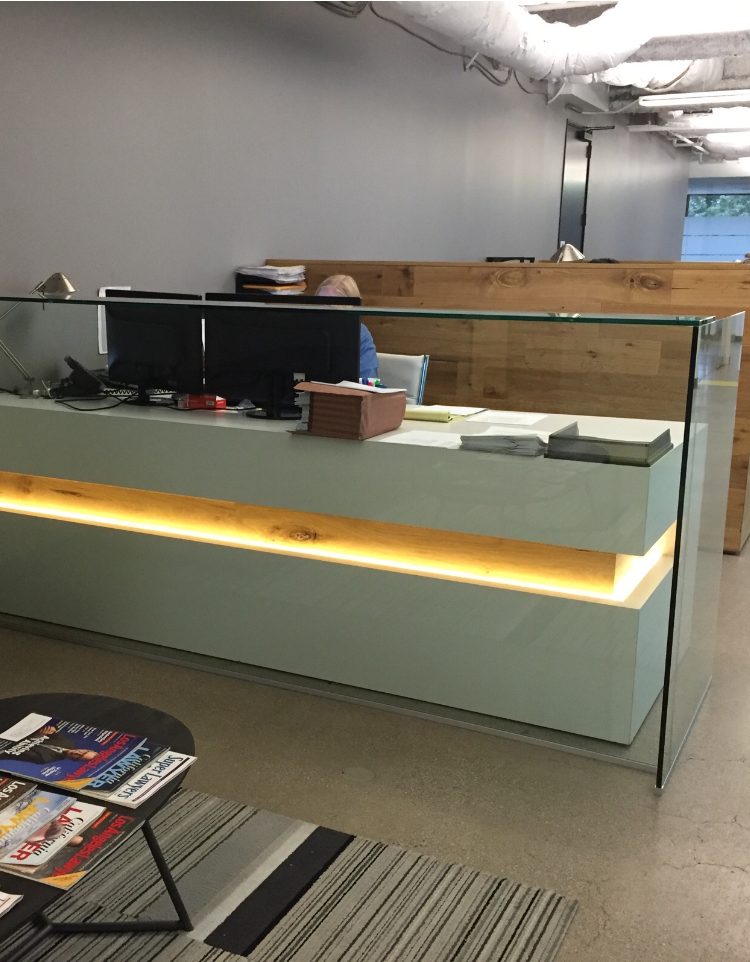 A Custom White Lacquer Reception Desk Made To Order From Ironwood Furniture Studio Custommade Com