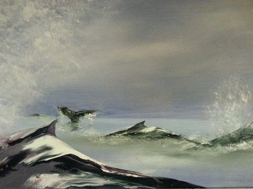 "Custom Made ""Whale Play,"" A 48x24"" Oil Painting By Cape Cod Artgist Joe Gallanmt"