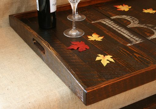Custom Made Rustic Modern Oversized Ottoman Tray Table Top Serving Breakfast Tray With Handles