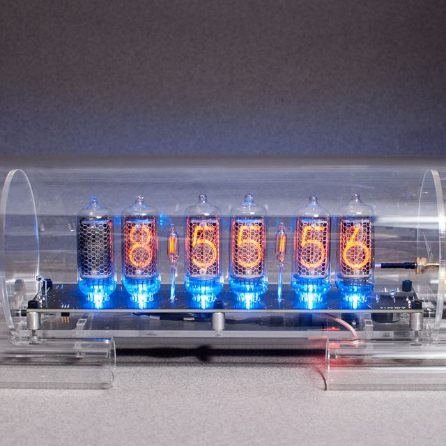 Buy Handmade Gps Time Sync Nixie Clock In 8 2 With Blue Floor Leds Made To Order From Cold War Creations