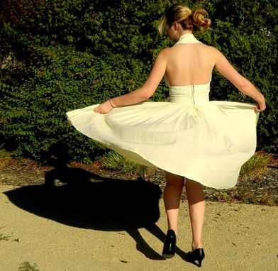 Custom Made Custom Made Marilyn Monroe Pleated White Halter Subway Dress Reproduction In Heavy Silk Crepe
