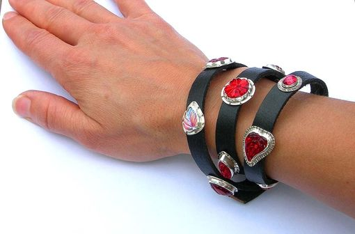 Custom Made Leather Wrap Bracelet With Red Vintage Glass Crystal Embellishments, Red Leather Wrap Bracelet