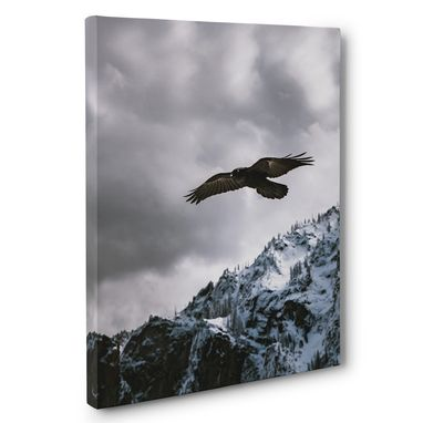 Custom Made Soaring Eagle Over Mountains Photography Canvas Wall Art