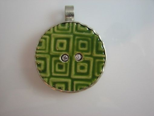 Custom Made Jade Green Patterned Ceramic Button Set In Sterling Silver With 2 Cubic Zirconia