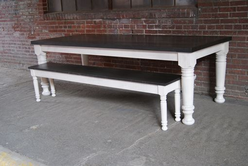 Custom Made Turned Leg Table Shown With Bench.