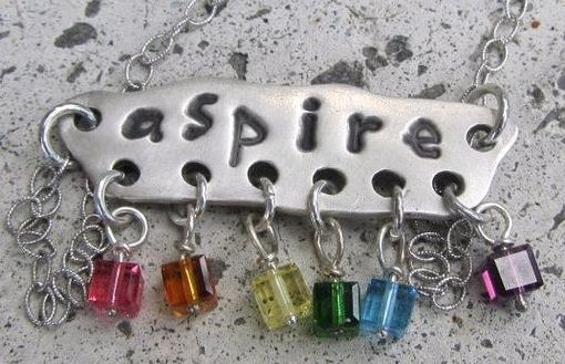 "Custom Made Silver ""Aspire"" Necklace Metal Clay Pendant"