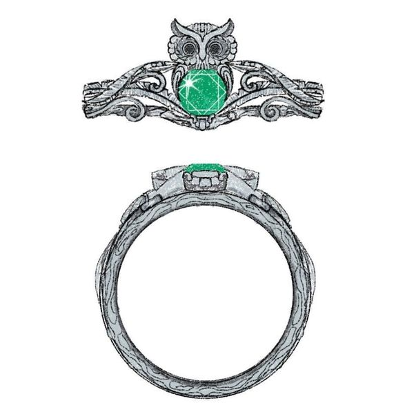 Design for an owl engagement ring with an emerald center stone and feather detailing on the band.