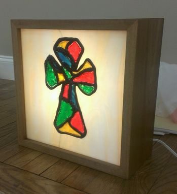 Custom Made Stained Glass And Polymer Lightbox Cross
