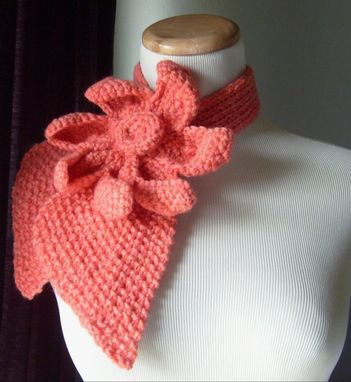 Custom Made Vintage Inspired Ascot Necktie Lotus Flower Design/Coral-Peach Color