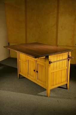 Custom Made Kitchen Island  Mustard Base With Antique Walnut Finish On Top