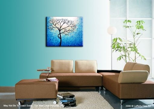 Custom Made Original Abstract Tree Painting,Textured Cherry Blossom,Blue Tree,Abstract Blue White Tree Painting
